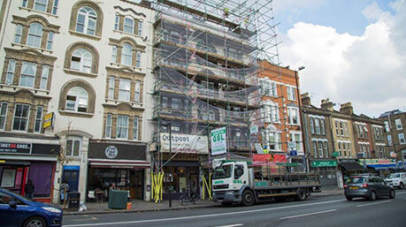 Scaffolding above London shop