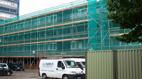 Commercial scaffolding erected
